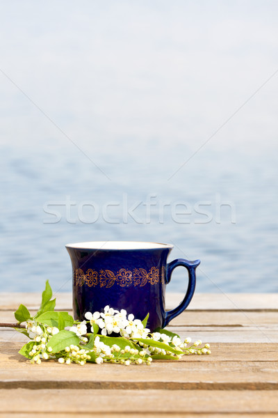Cup of hot beverage with cherry blossom Stock photo © veralub