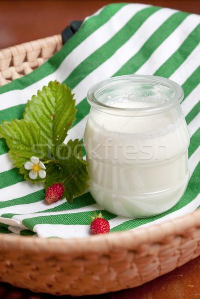 Vetro pot naturale yogurt colorato Foto d'archivio © veralub