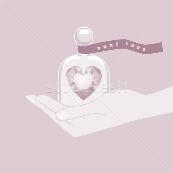 Hand giving the gift of a heart under a glass dome Stock photo © veralub