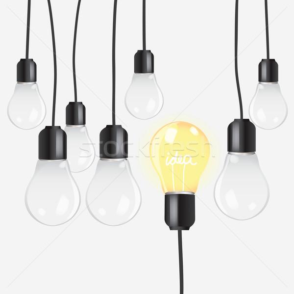 Idea lampadine impiccagione bianco vettore modello Foto d'archivio © veralub