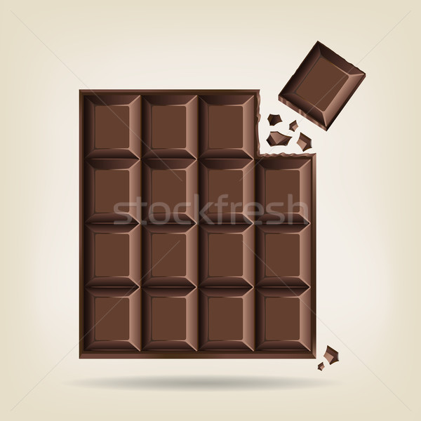 Unwrapped bar of chocolate Stock photo © veralub