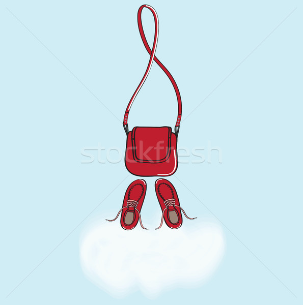 Red handbag and shoes with cloud copyspace Stock photo © veralub