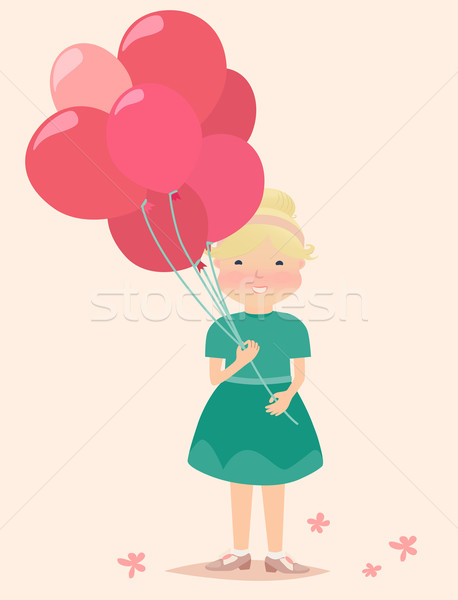 Giovane ragazza rosso rosa palloncini graphic design Foto d'archivio © veralub