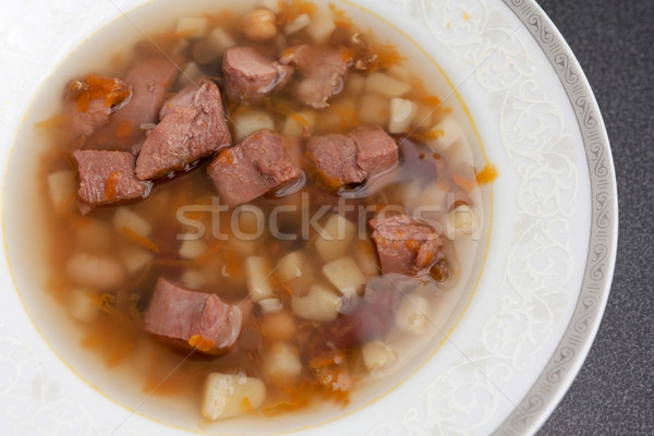 Hot Bowl Of Meaty Bouillon Soup Stock photo © veralub
