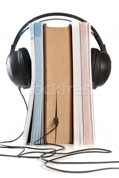 Fejhallgató könyvek hifi boglya fehér oktatás Stock fotó © veralub