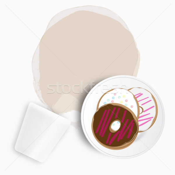 Stock photo: Doughnuts with spilled coffee or tea