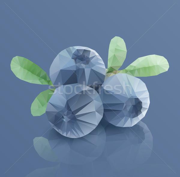 Three blueberries, in modern triangulated style Stock photo © veralub