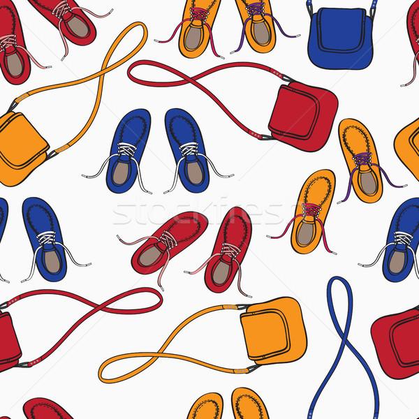 массив обувь красный оранжевый синий Сток-фото © veralub