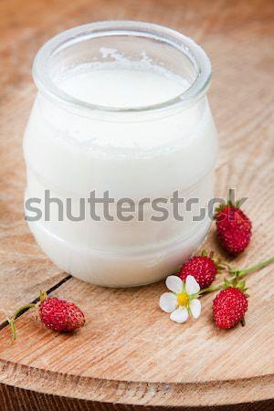 сливочный природного йогурт черника стекла банку Сток-фото © veralub