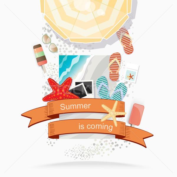 Verão praia ilustração ver guarda-sol Foto stock © veralub
