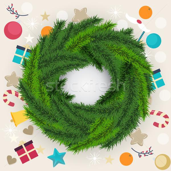 Natale ghirlanda pino fogliame Foto d'archivio © veralub