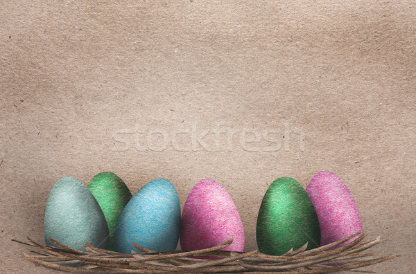 Beautiful textured Easter Eggs Stock photo © veralub