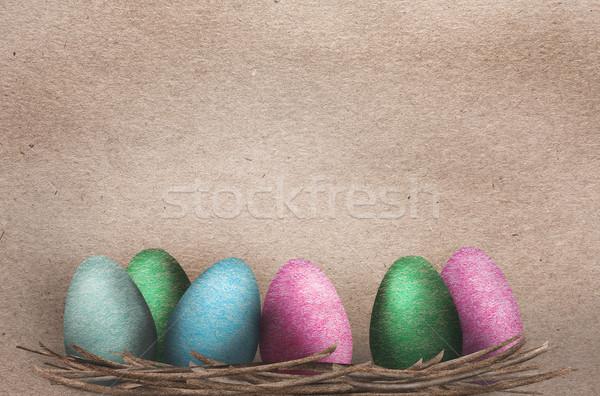 美しい イースターエッグ カラフル 巣 デザイン ストックフォト © veralub