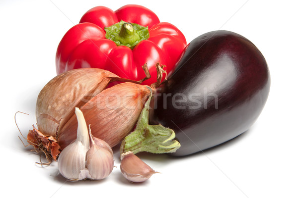 Onion, bellpepper, garlic and brinjal Stock photo © veralub
