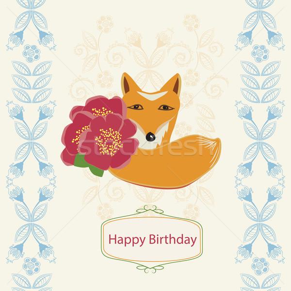 お誕生日おめでとうございます カード キツネ 花 グリーティングカード かわいい ストックフォト © veralub
