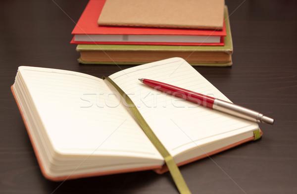Open notebook with ballpoint pen Stock photo © veralub