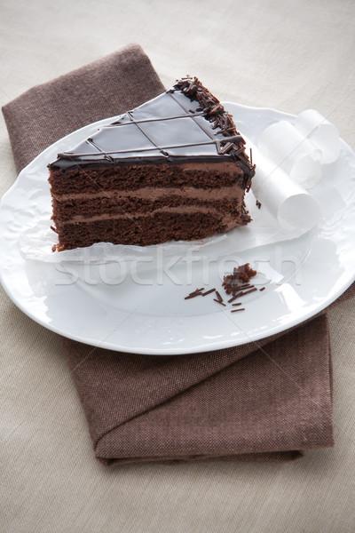 Slice of gourmet chocolate cake Stock photo © veralub