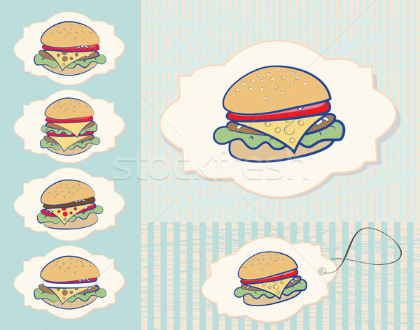 Set of burgers Stock photo © veralub