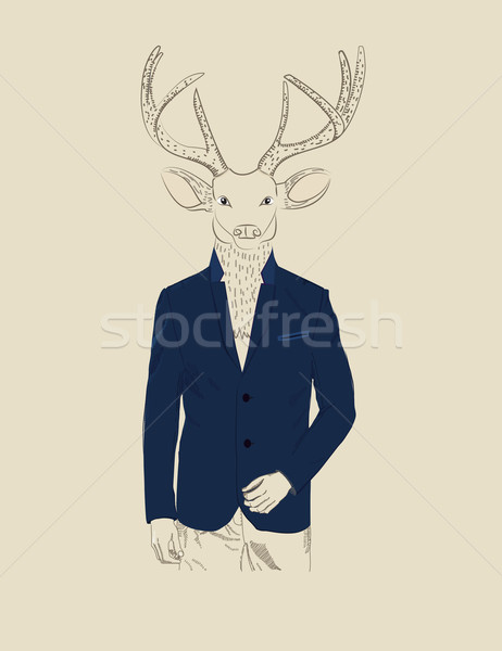 Vintage illustration of a deer in a suit Stock photo © veralub
