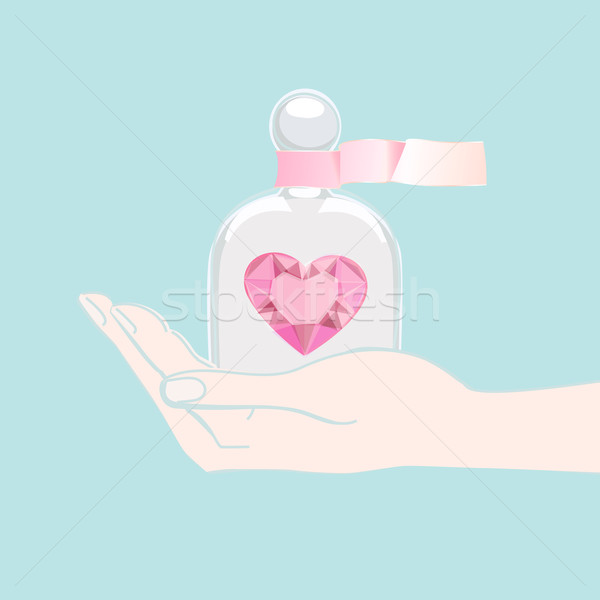 Hand offering a heart under a glass cover Stock photo © veralub