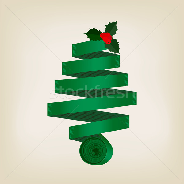 Festive green Christmas tree of coiled ribbon Stock photo © veralub