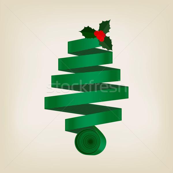 Festive green Christmas tree of coiled ribbon Stock photo © veralub