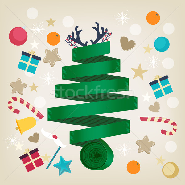Twirled ribbon Christmas tree card design Stock photo © veralub