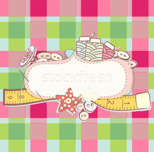 Pretty card with sewing accesories Stock photo © veralub