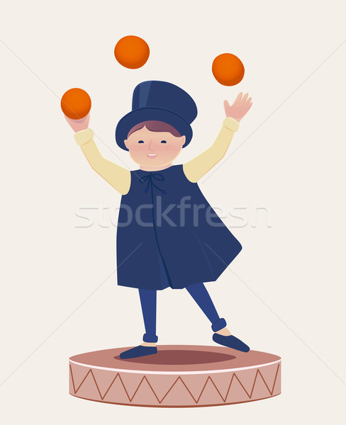 Cartooned Happy Juggler Boy on Top of a Platform Stock photo © veralub