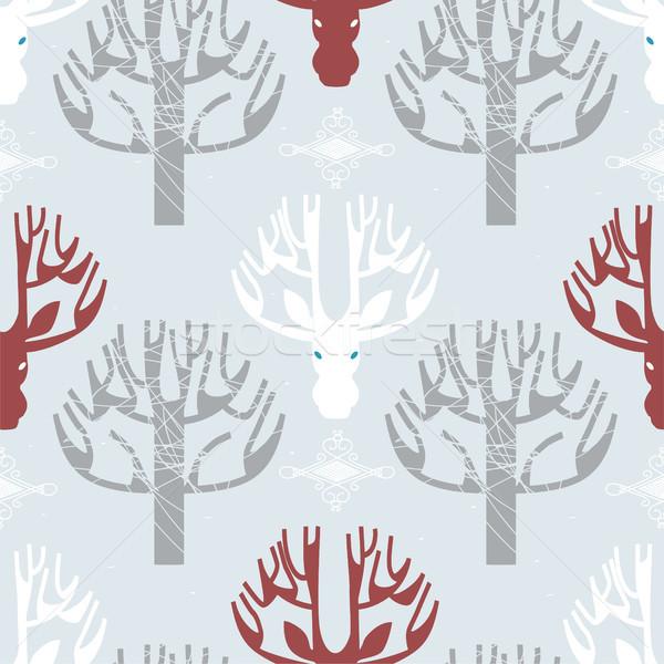 Deer and trees print Stock photo © veralub