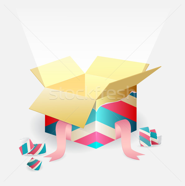 Open magic box with a beam of light Stock photo © veralub