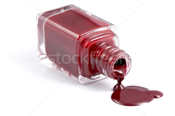 Fles nagel vernis mooie diep Rood Stockfoto © veralub