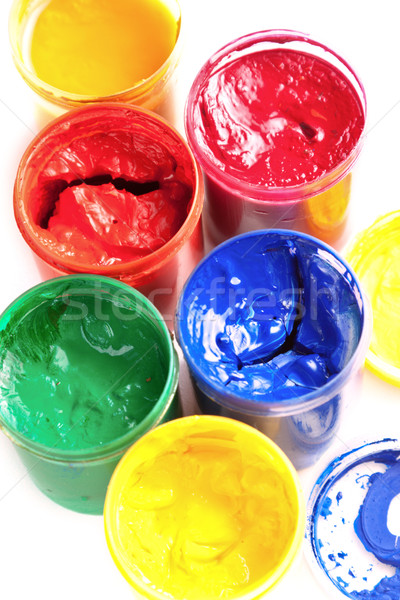 Colourful pots of gouache paint Stock photo © veralub