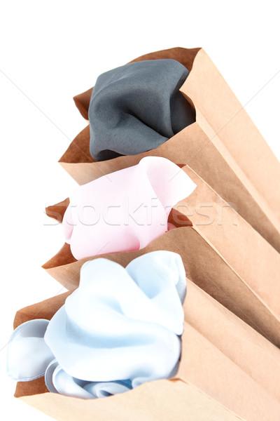 Elbise ambalaj kâğıdı çanta renkler bez üç Stok fotoğraf © veralub