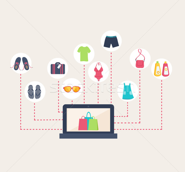 Online shop selling summer clothing Stock photo © veralub