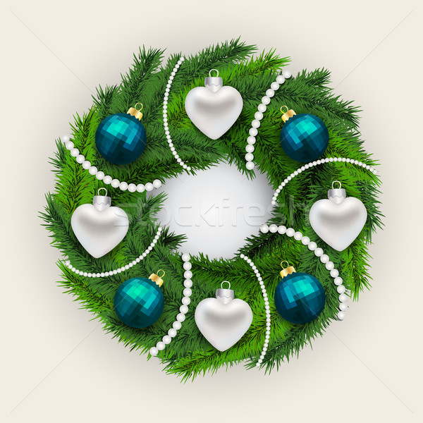 Decorated Christmas pine wreath Stock photo © veralub