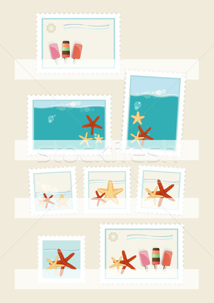 Summer postage stamps collection Stock photo © veralub
