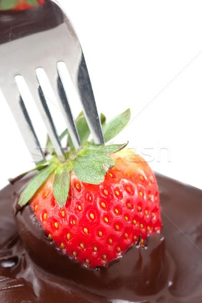 Chocolate Coating Strawberries Stock photo © veralub