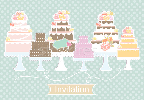 Invitation design with decorative cakes Stock photo © veralub