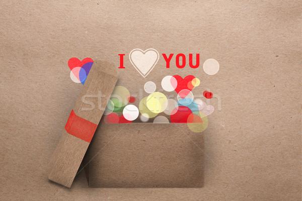 Paper applique Valentine greeting card Stock photo © veralub
