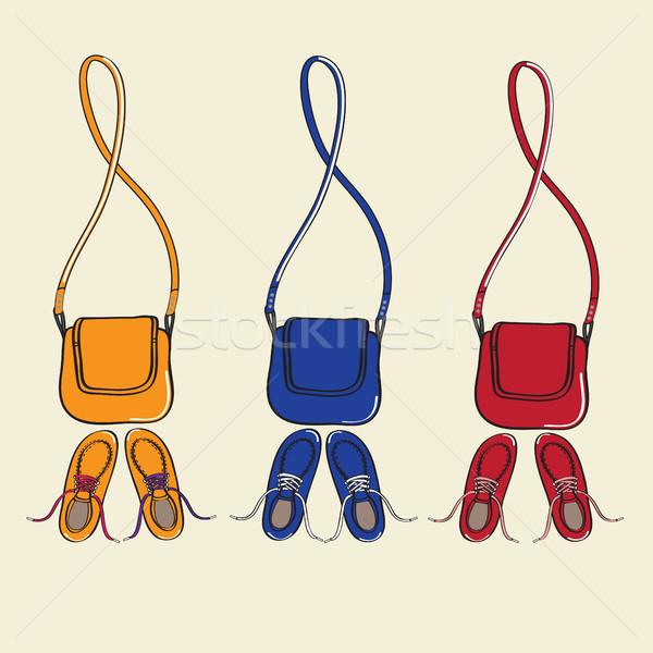 Trendi cipők összeillő terv illusztráció három Stock fotó © veralub