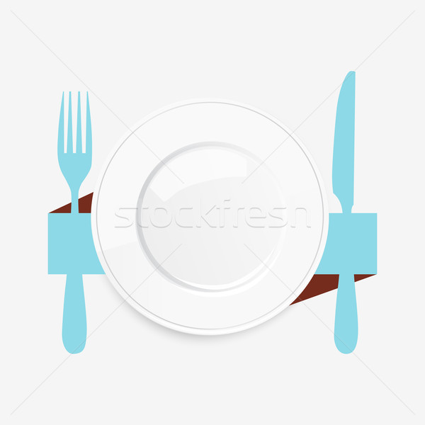 Empty white plate with a blue knife and fork Stock photo © veralub