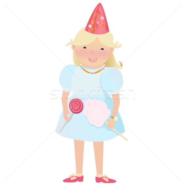 Cartooned Young Girl with Candies and Party Hat Stock photo © veralub