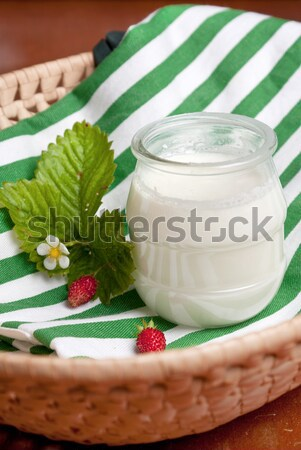 Natural yoghurt on striped cloth Stock photo © veralub