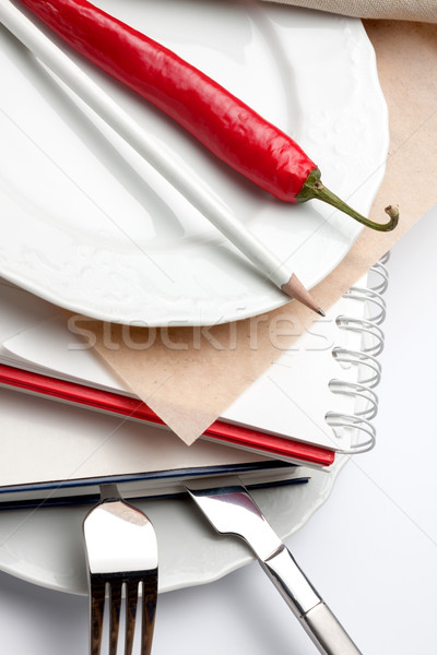 白 プレート 図書 クローズアップ 図書 ナイフ ストックフォト © veralub