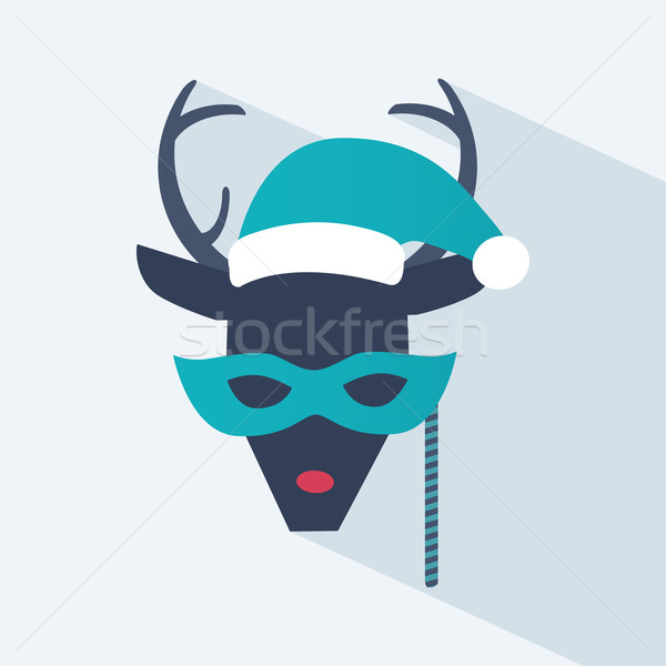New Year and Christmas icon of a deer Stock photo © veralub