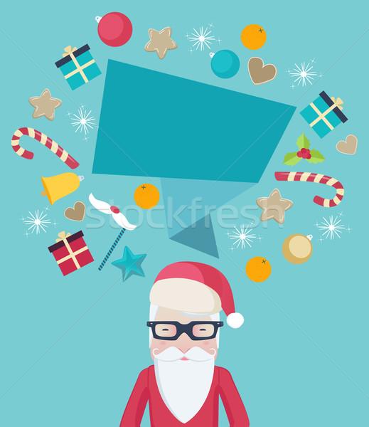 サンタクロース 着用 眼鏡 吹き出し クリスマス 装飾 ストックフォト © veralub