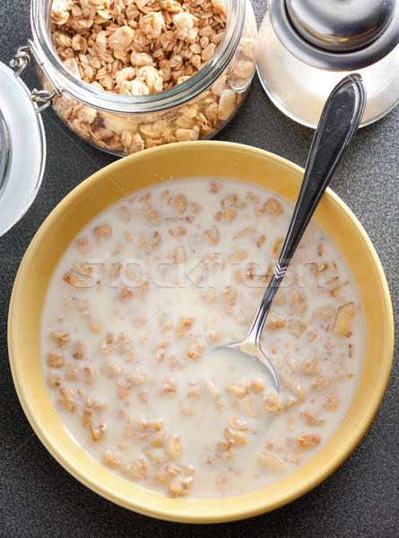 çanak sağlıklı müsli süt görmek hizmet Stok fotoğraf © veralub