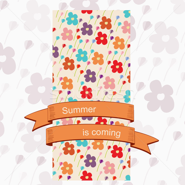 Card with a floral pattern and ribbon banner Stock photo © veralub