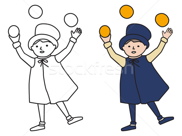 Cartooned Graphic of Juggler Boy with Template Stock photo © veralub